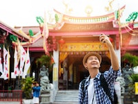 Holiday in Kiew Tien Keng Shrine in Phuket poi in Thailand